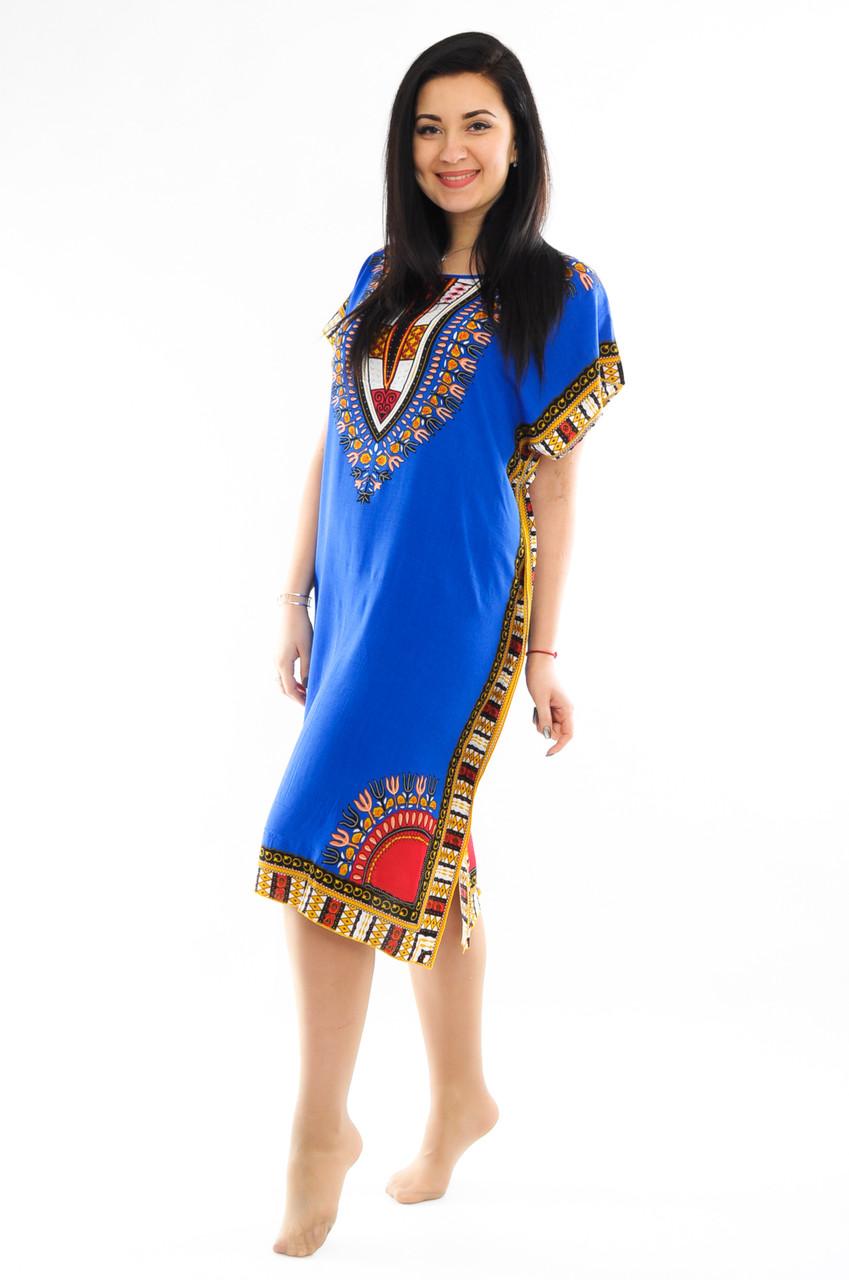 Женское платье с орнаментом синее