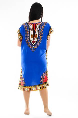 Женское платье с орнаментом синее, фото 2