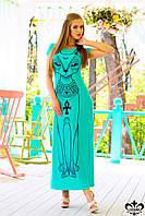 Длинное бирюзовое женское платье Сфинкс Luzana 44-52 размеры