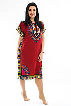 Женское платье с орнаментом бордовое