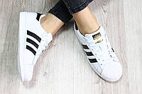 Женские кроссовки Adidas Superstar комбинированная кожа Вьетнам размеры 36-41 черные классика