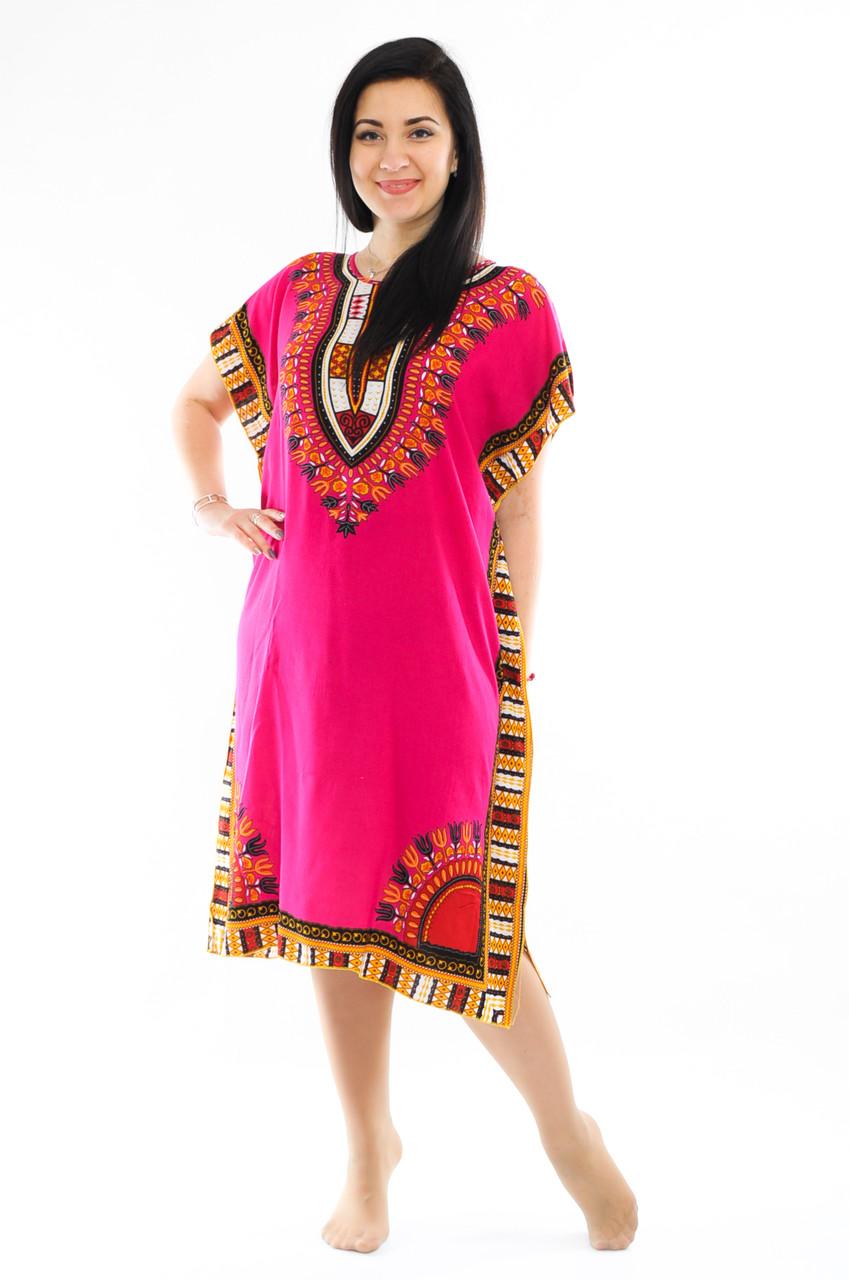 Женское платье с орнаментом малиновое