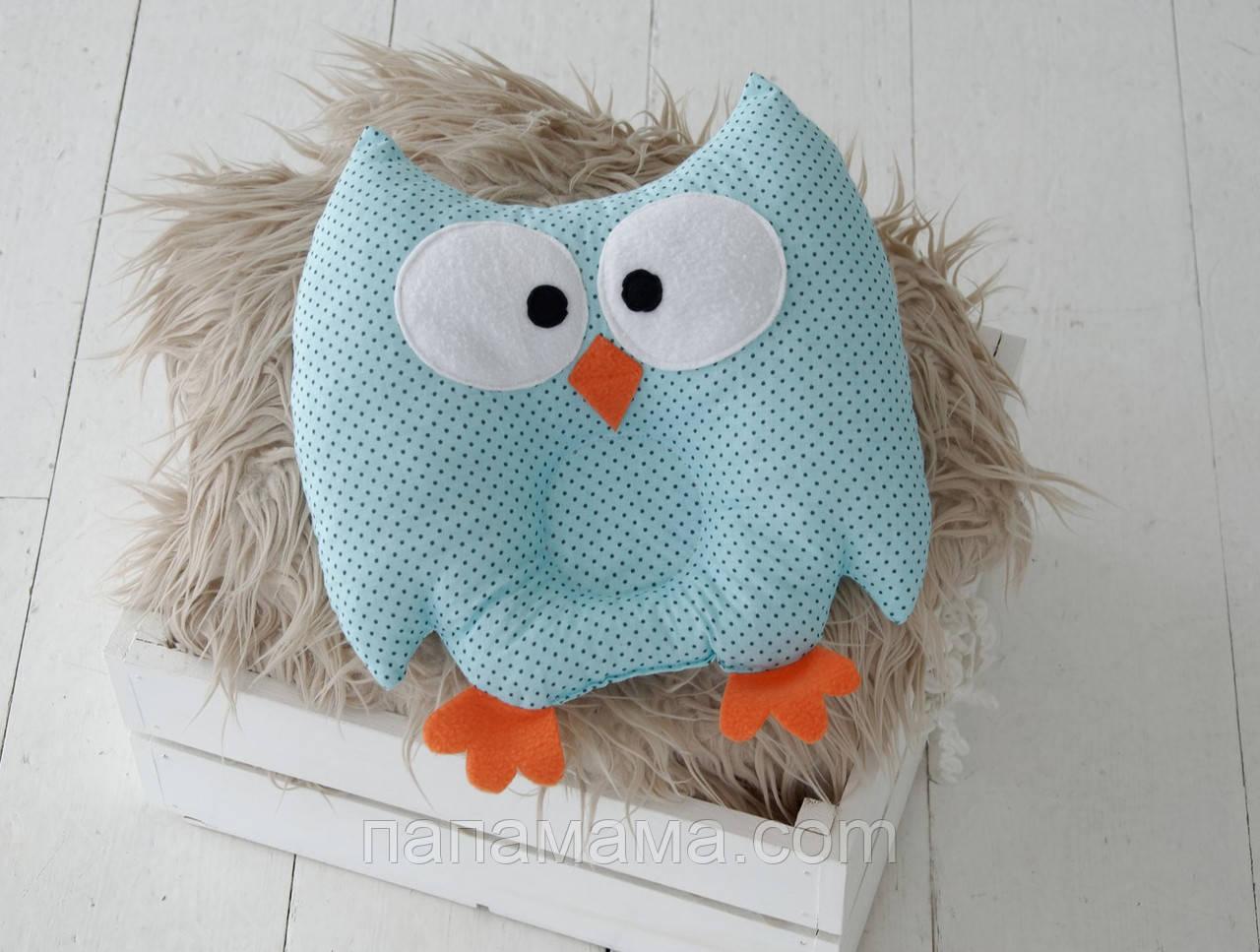 """Детская подушка-игрушка для новорожденных """"Совушка"""" голубая в черный горошек"""
