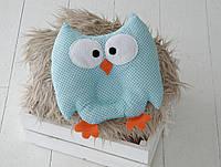 """Детская подушка-игрушка для новорожденных """"Совушка"""" голубая в черный горошек, фото 1"""