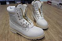 Ботинки женские в стиле Balmain ,цвет ,белые с перфорацией