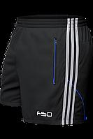 Шорты мужские F50 - 1095J черный-серый-электрик