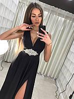 Шикарное женское вечернее платье (масло кристал, длина макси в пол, без рукавов, декольте) РАЗНЫЕ ЦВЕТА!