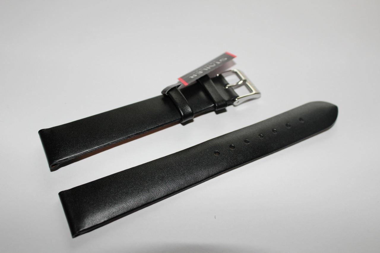 Кожаный ремень для часов Stailer - черный гладкий ремень на два заужения. Ремни этой серии без прошивки.