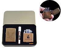 """Электроимпульсная (USB) + бензиновая зажигалки в подарочной коробке + мундштук """"Eagle"""" №4774-2"""