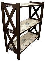 Этажерка стеллаж деревянная коричневая Оливки