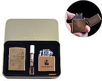 """Электроимпульсная (USB) + бензиновая зажигалки в подарочной коробке + мундштук """"Дракон"""" №4774-3"""