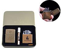 """Электроимпульсная (USB) + бензиновая зажигалки в подарочной коробке + мундштук """"Конопля"""" №4774-5"""