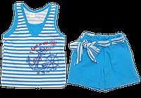Детский летний костюмчик р. 104-110, маечка и шортики, тонкий хлопок, ТМ Виктория 110