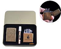 """Электроимпульсная (USB) + бензиновая зажигалки в подарочной коробке + мундштук """"Курительная трубка"""" №4774-1"""