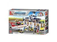 Конструктор SLUBAN Авиация, аэропорт, самолет, фигурки, 810 дет., M38-B0373
