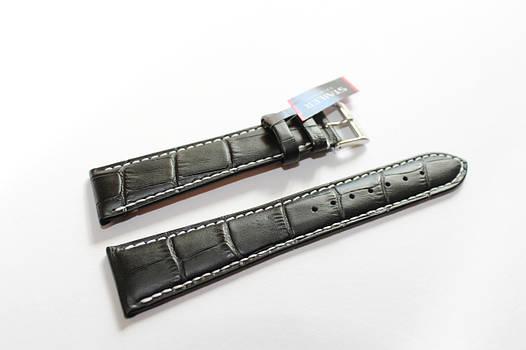 Кожаный ремень Stailer- черный крокодил с белой прошивкой на два заужения и нубуковой подкладкой