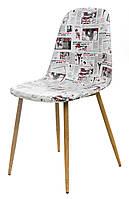 Стул M-10-1 мягкий, сиденье кожзам принт газета, металлические ножки цвета бук, в стиле лофт