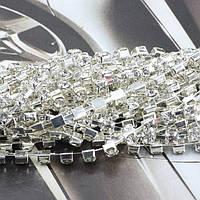 Стразовая лента для декорирования корпусной мебели и кухонных фасадов SS14 - Crystal/Silver
