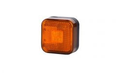 Габаритно - контурный фонарь, квадратный с отражателем и диодом LED оранжевый 12/24 V, 0,5 м кабель