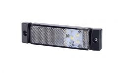 Габаритно - контурный фонарь с отражателем HOR 41 и с тройным диодом LED, белый, 12/24 V, 0,5 м кабель