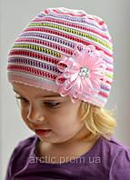 025 Радуга тонкая ажурная шапка 2-6 лет: хлопок, ажур. р.48-54 Есть розовый, т.розовый, фото 1