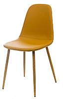 Стул M-10-1 мягкий, сиденье кожзам карри, металлические ножки цвета бук, в стиле лофт