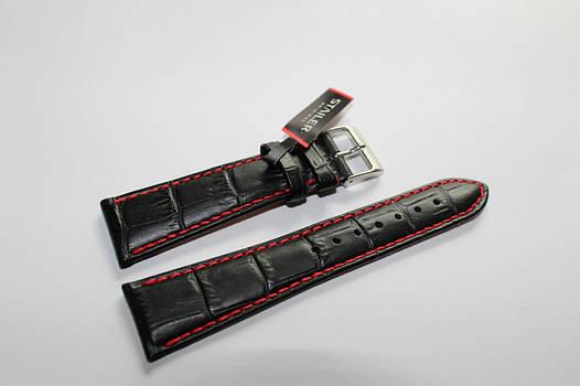 Кожаный ремень Stailer- натуральной кожи  с выделкой под крокодил, красной прошивкой и с нубуковой подкладкой