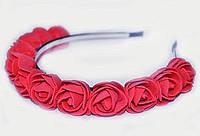 Ободок для волос с цветами Розы красные