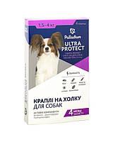 Капли на холку Ultra Protect Palladium для собак 1,5-4 кг от блох, клещей, вшей и власоедов, 1 пипетка