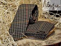 Набор галстука с нагрудным платком в разноцветную гусиную лапку