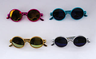 Круглые детские солнцезащитные очки в перламутровой оправе