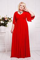 Вечернее платье батал со съемным поясом в виде косы (4 цвета)