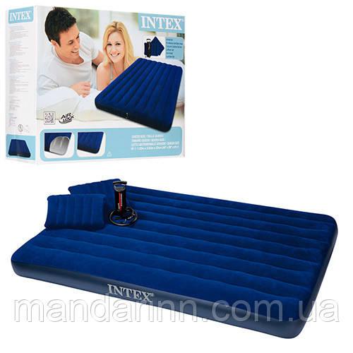 Велюр-матрац синій з насосом і подушками 203-152-22см. двоспальний. 68765