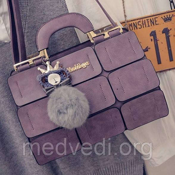 Сиреневая сумка MEI&GE, экокожа, женская сумочка