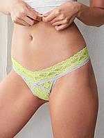 Трусики Victoria's Secret Contrast-trim Thong, Tequila Lime N72