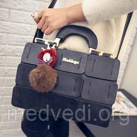 Черная сумка MEI&GE, экокожа, женская сумочка через плечо