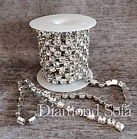 Стразовая цепь с кристаллами SS8 (2,5-3 мм) - Crystal/Silver - 10см