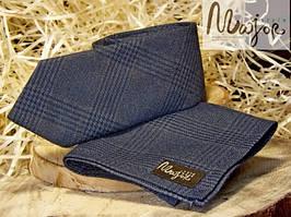 Набор галстука с нагрудным платком темно-синего цвета в клетку