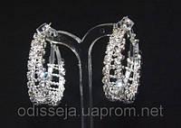 Серьги-кольца, белый металл, белые стразы, D -3,5 см  2_5_49