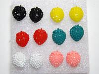 Серьги-пуссеты, пластик, цветные (6 пар) 1_24_106a1