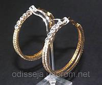 Серьги кольца, желтый металл, белые стразы, D -5,2 см  2_5_24