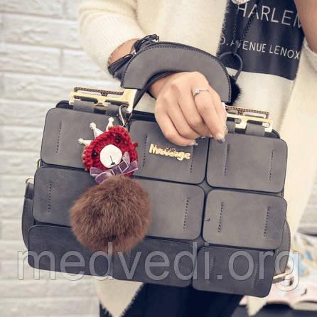 Серая сумка MEI&GE, экокожа, женская сумочка