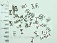 Заглушки для пуссет, Цвет: Серебро, Размер: 5х4мм, Отверстие 0.8мм 24_2_6а2