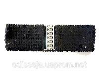 Пояс-резинка, ткань с паетками, черный, шир - 7,5 см  27_2_76