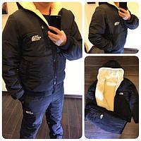Мужской зимний лыжный спортивный костюм куртка на меху