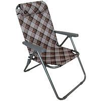 Кресло для кемпинга складное DES2001-2C-2, прочный металлический каркас, подголовник, подлокотники