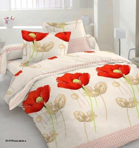 Комплект красный мак постельное белье евро размер