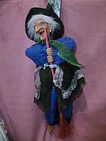 Баба-Яга блондинка кукла - механическая звуковая 36 см. плюс шапка