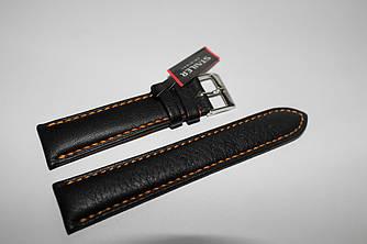 Кожаный ремень Stailer-черный гладкий из натуральной кожи , прошит оранжевой нитью и нубуковой подкладкой