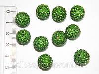Бусины шамбала 12 мм, стразы зеленые (10 шт) 24_1_50a6